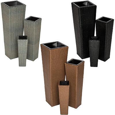 Set di 3 vasi in polyrattan per giardino casa balcone arredo rattan vaso