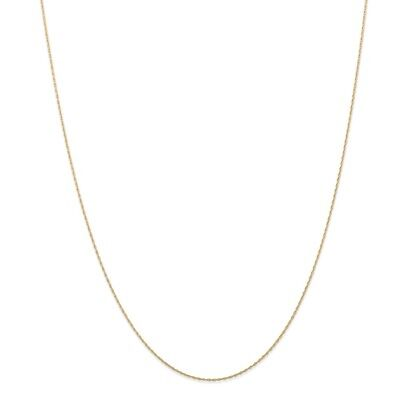 14k Yellow Gold .5 mm Cable Link Rope Chain Necklace (CARDED) 16 Inch