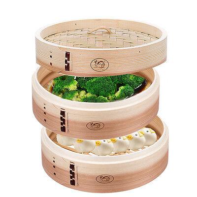 3-Piece Wooden Bamboo Steamer 11.8 inch Set 2-Tier Deep Basket Bun Cooking Food