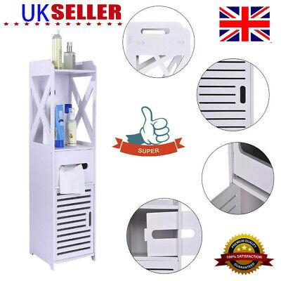 3-Tiers Modern Wood Bathroom Cabinet Shelf Cupboard Storage Toilet Unit Standing