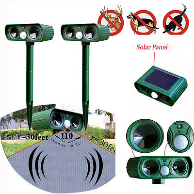 Ultrasonic Solar Power Pest Animal Repeller Repellent Garden Cat Dog Hot Sale