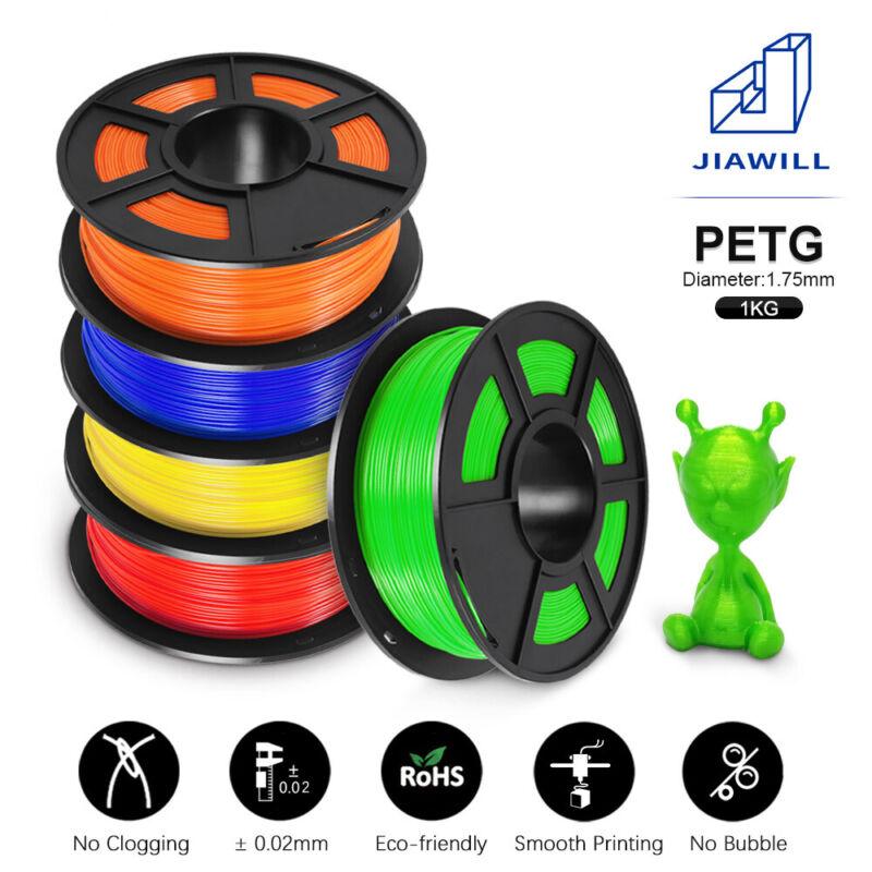 JIAWILL 3D Printer Filament 1.75mm 1KGB with Spool PETG Multiple Color