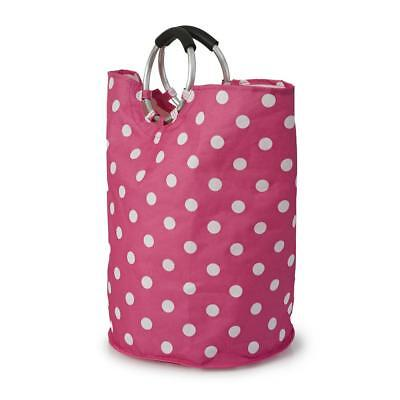 Round Pink Polka Dot Laundry Bag with Silver Handles
