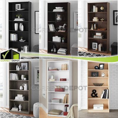 - 71'' ADJUSTABLE 5 SHELF STANDARD BOOKCASE Wide Wood Furniture Storage Bookshelf