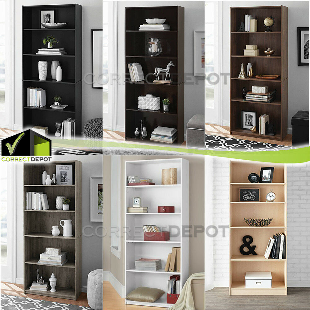 ADJUSTABLE 5 SHELF BOOKCASE Book Wide Wood Furniture Storage