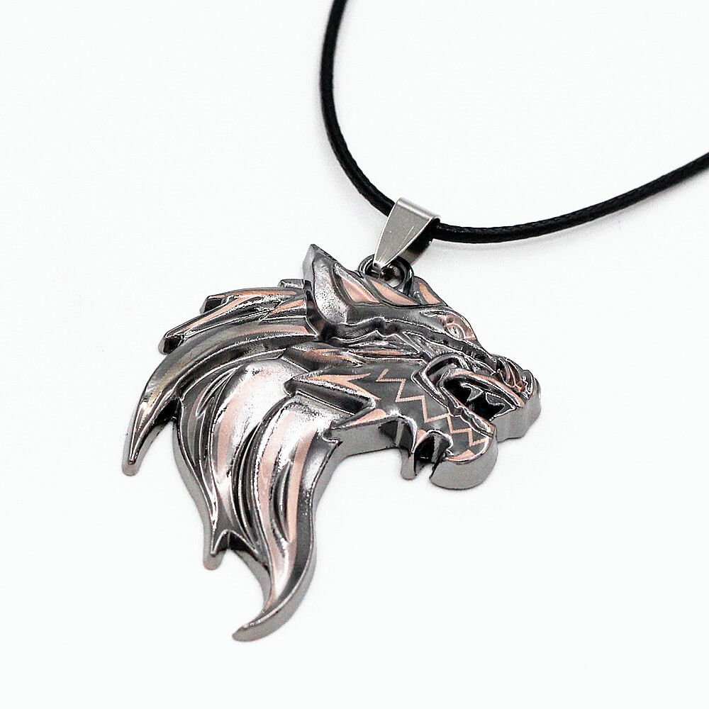 mens stainless steel wolf pendant leather chain