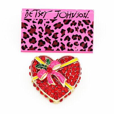 Betsey Johnson Enamel Crystal Bowknot Love Heart Charm Women's Brooch Pin Gift Crystal Heart Pin