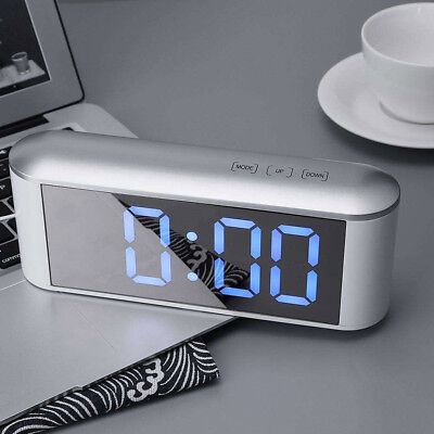 LED Touch Digital Table Alarm Clock Make-up Mirror Thermometer Hygrometer Hot#ur