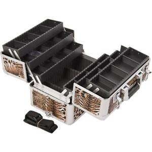 Sunrise E3304 Professional Makeup Artist Cosmetic Train Case Organizer Storage with 6 Trays with Dividers, Leopard Brown