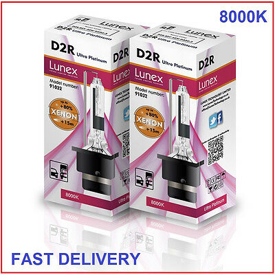 2 x D2R Genuine LUNEX XENON 8000K HID BULB compatible with 85126 66050 66250
