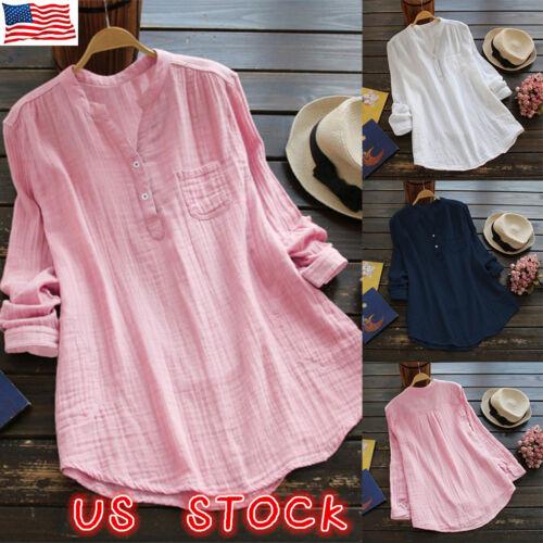 US Women Summer V-Neck Long Sleeve Tunic T-shirt Blouse Tee
