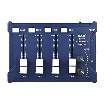Professional Mini 4-Channel mono Stereo Audio DJ Sound Mixer USB Blue W4Z4 Mono Mini Mixer