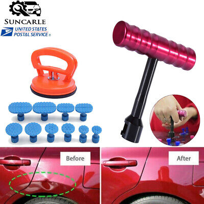 Car Body Paintless Dent Repair Removal Tool Kit Puller Lifter T-Bar with 10 Tabs