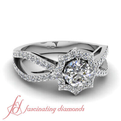 1.10 Ct Round Cut FLAWLESS Diamond Halo Style Split Pave Set Engagement Ring GIA