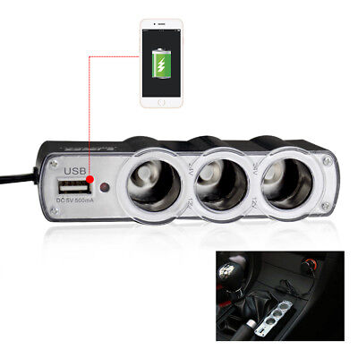 Triple 3 Way Car Cigarette Lighter Socket Splitter USB Charger Power Adapter