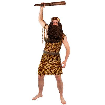 CAVEMAN FANCY DRESS COSTUME BROWN WIG BEARD CLUB PREHISTORIC CAVE MAN OUTFIT