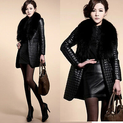 Women Winter Fur Collar Cardigan Coat Jacket Warm Faux Leather Long Overcoat