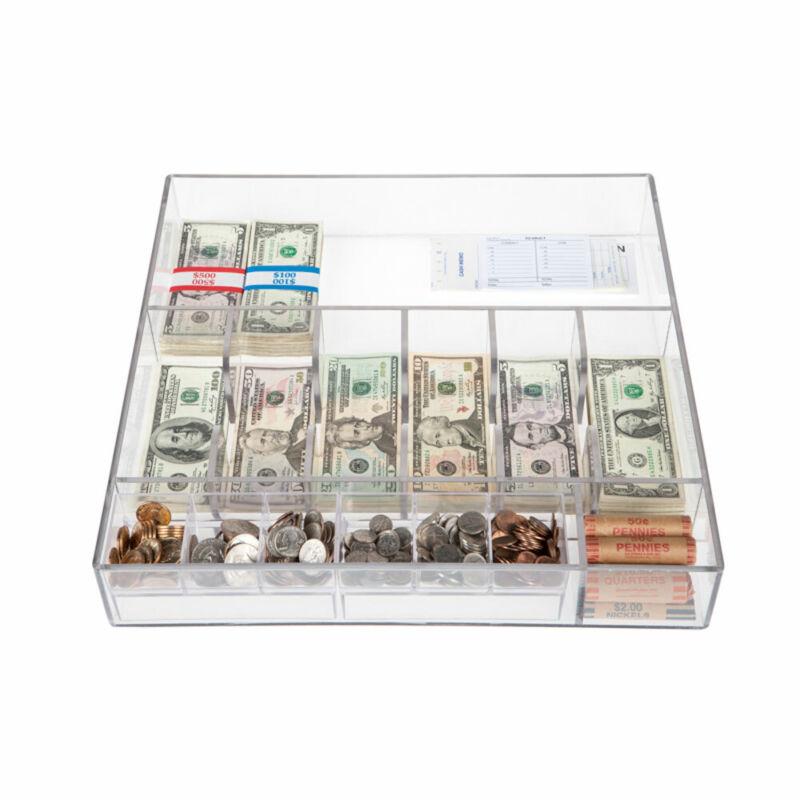 Clear Money Tray -17-1/2W x 3H x 17-1/2D- Cash Tray