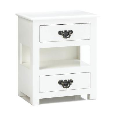 Double Drawer Petite Cabinet Night Stand Side End Table Nursery Bath Storage