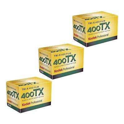 3x Kodak Professional Tri-X 400ASA 135-36 35mm B&W Black and White Print Film