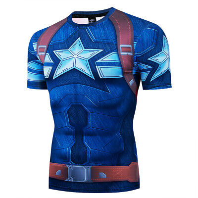 Mens Superhero Captain America Costume Cosplay Compression Gym Workout - Superheroe Costumes
