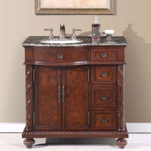 36-inch Granite Stone Top Off Center Sink Bathroom Single Vanity Cabinet  0213BB - 36-inch Granite Stone Top Off Center Sink Bathroom Single Vanity