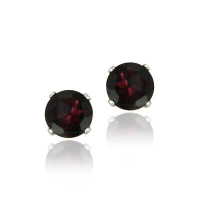 14K White Gold 2.2ct TGW Genuine Garnet Stud Earrings