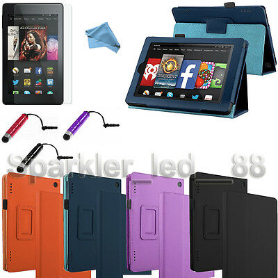 2014 PU Leather Folio Case Cover Stand For Amazon Kindle Fire HD + Bundle (Kindle Fire Hd Cover 2014)