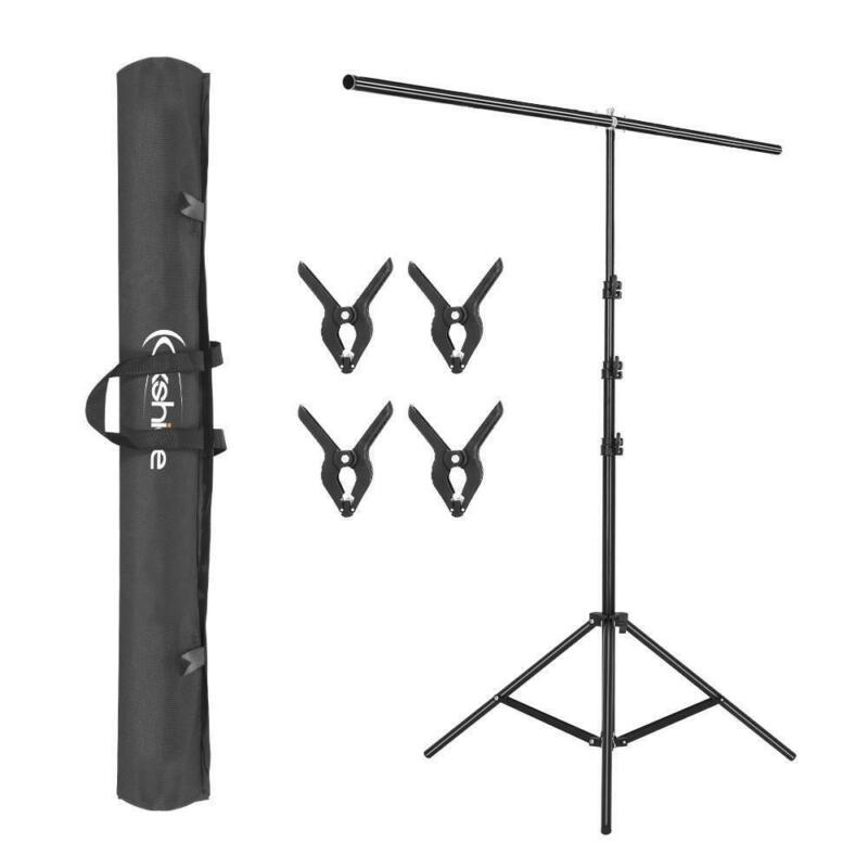 T-Shape Photography Adjustable Backdrop Support Stand Background Kit w/ 4 Clips