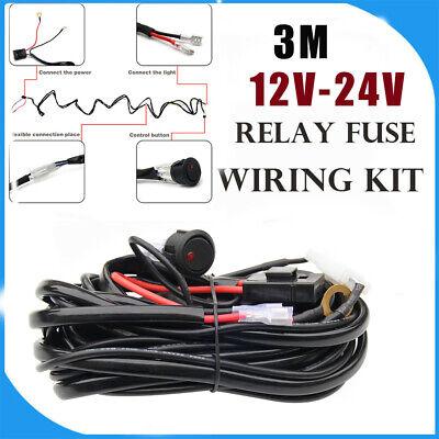 LED HID Work Driving light bar Wiring Loom Harness 12V/24V Relay Switch kit