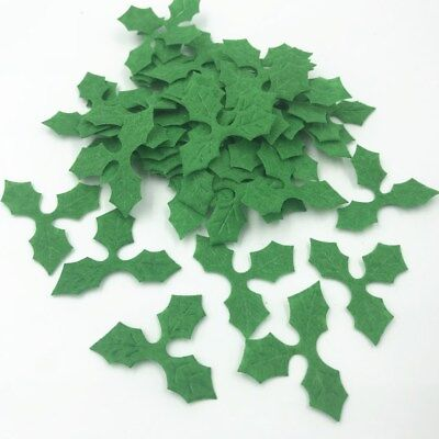 100pcs Green Holly leaves Felt Appliques for Christmas Decoration DIY 36mm