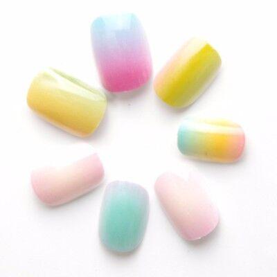Gradient Color Children False Nails 20 Pcs Pre-glue Press on Fake Nails Tips](Kids Fake Nails)