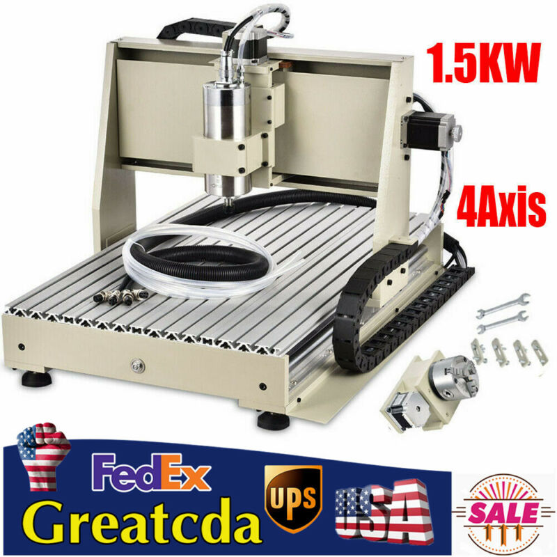 USB 4 Axis 6040CNC Router Engraver Milling Drill Machine 3D Cutter 1.5KW VFD USA