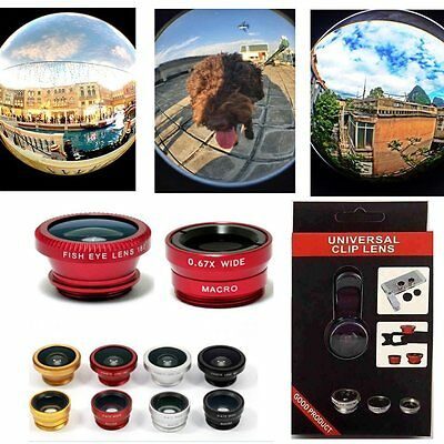 Wide Angle Lens Kit - 3in1 Clip Fish Eye+Macro+Wide Angle Lens Camera kit for iPhone/Samsung Cellphone