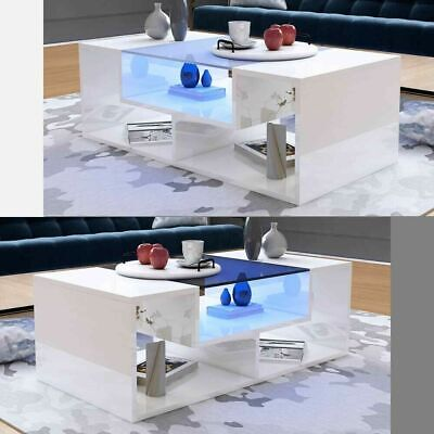 Modern High Gloss Coffee Tea Table Living Room Furniture with Top Glass Free LED