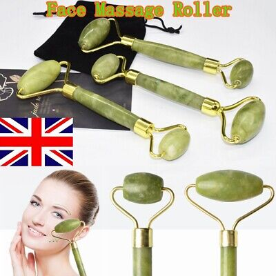 Jade Face Massage Roller Beauty Tool Facial Eye Neck Body Anti Ageing Therapy UK