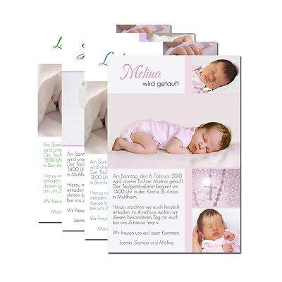 10 x Taufe Einladungskarte Danksagung mit Foto Karte + Kuvert