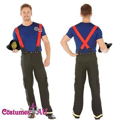 Mens Adult Fireman Fire Fighter Uniform Fancy Dress Costume Halloween Outfit - Mens Fireman Outfit