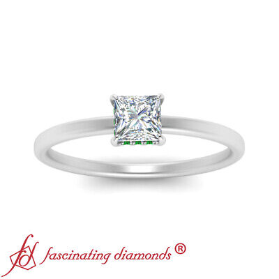3/4 Carat Princess Cut Diamond And Emerald Gemstone Hidden Halo Engagement Ring 2