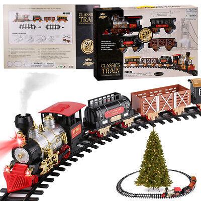 Luxury Electric Christmas Train Tracks Set Kids Toy Light Sound Smoke Tree Decor