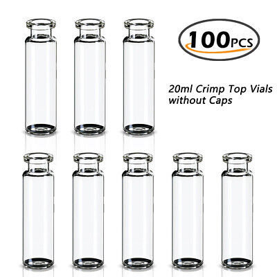 100pcs Sample Vial 23x75mm Clear 20ml 20mm Crimp Top Round Bottom Headspace