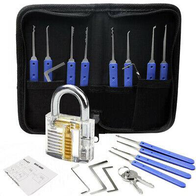 21pcs Practice Lock Picks Set - Rake Tools - Transparent Padlock - Carry Case