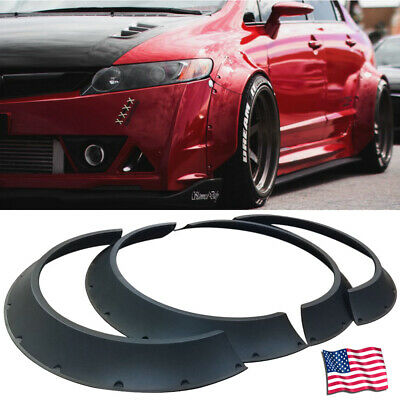 4Pcs Universal 60mm + 80mm Width JDM ABS Fender Flares New School Wheel Arches