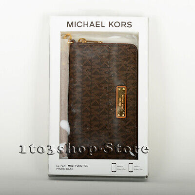 Michael Kors Flat Multifunction Wristlet Wallet iPhone 6 Plus 7 Plus Brown New
