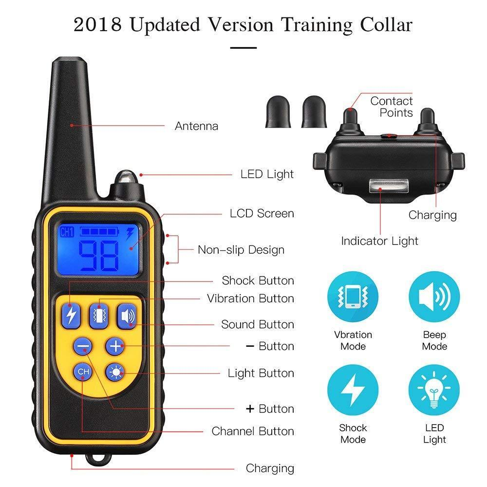Waterproof Dog Training Electric Collar Rechargeable Remote Control 875 Yards Bark Collars