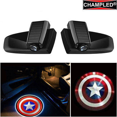 Champled For Captain America Car Led Door Projector Logo Shadow Emblem Wireless
