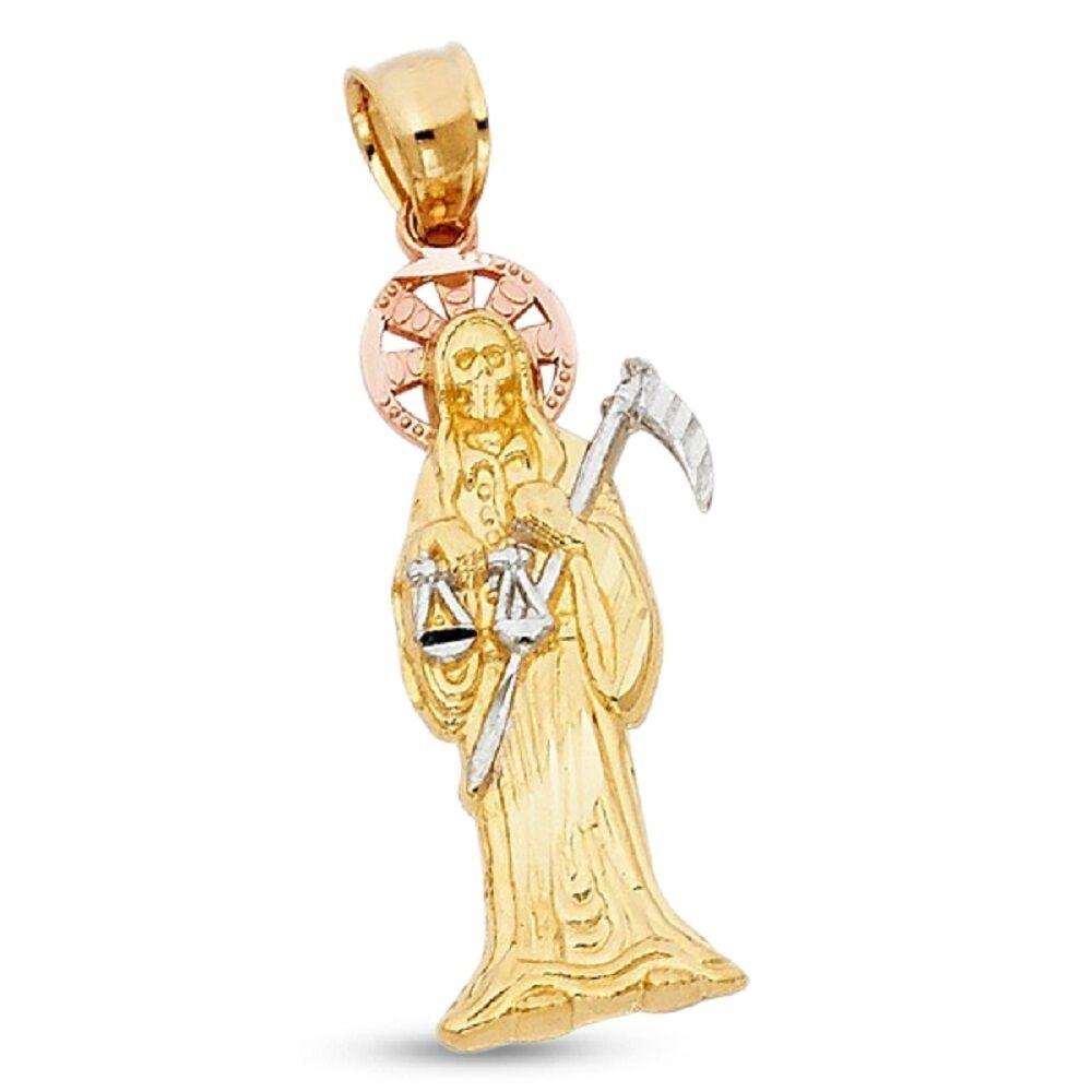 14K Yellow Gold 2 Tone Diamond Cut Small Grim Reaper Santa Muerte Charm Pendant