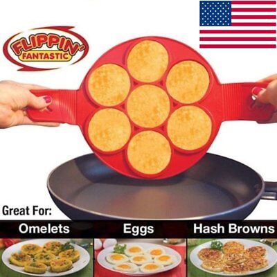 Non Stick Pancake Pan Flip Perfect Breakfast Maker Egg Omelette Flipjack Tool UA