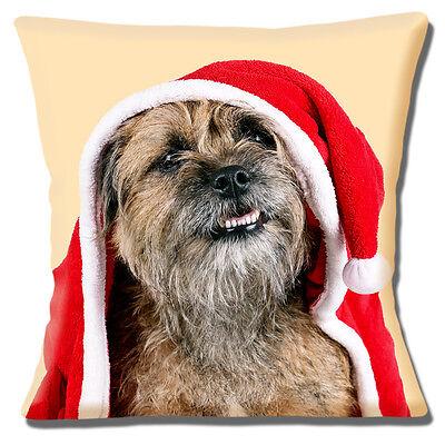Border Terrier Dog Cushion Cover 16x16 inch 40cm Christmas Theme Santa Hat Coat