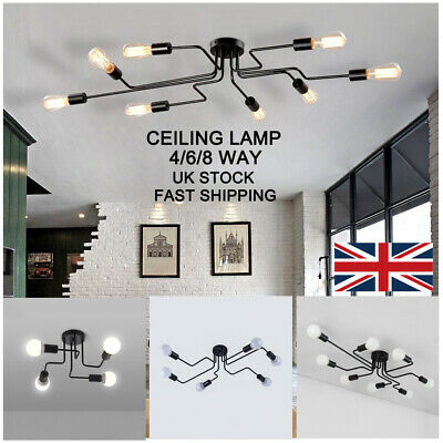 4/6/8 Head Retro Ceiling Lights Modern Vintage Industrial Metal E27 Pendant Lamp